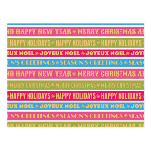 christmas words on colorful lines postcard