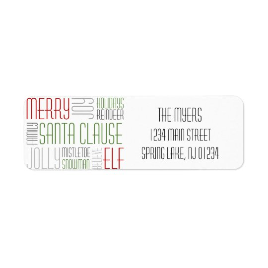 Christmas Words Return Label - Holidayzfordayz Return Address Label