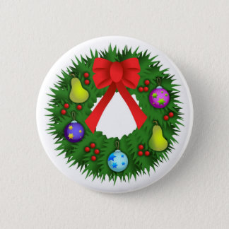 Christmas Wreath 6 Cm Round Badge
