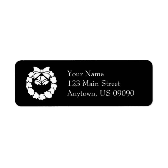Christmas Wreath Address Labels (Black)