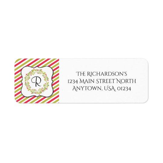 Christmas Wreath and Stripes Monogram Return Address Label