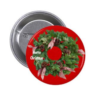 Christmas Wreath Pinback Button