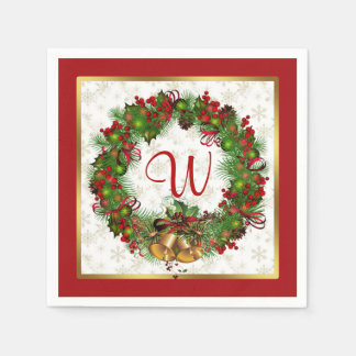 Christmas wreath, bells, holly Monogram Disposable Napkins
