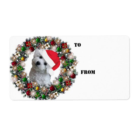 Christmas Wreath Bichon Frise Gift Labels