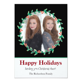 Christmas Wreath Black and White Photo Card
