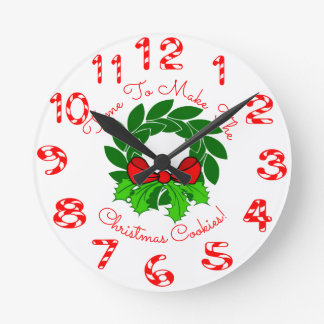 Christmas Wreath & Candy Canes Round Clock
