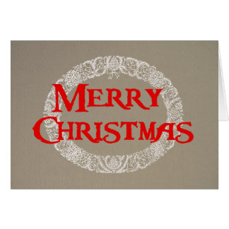 Christmas Wreath Card White and Red on Burlap
