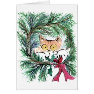 Christmas Wreath Cat, Sumi-e Card