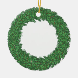 Christmas wreath ceramic ornament