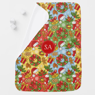 Christmas wreath, Christmas Ornaments, Santa's Hat Baby Blanket