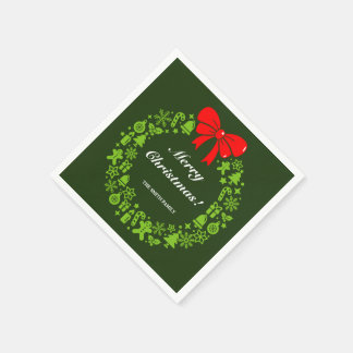 Christmas Wreath composed of modern Xmas motifs, Disposable Serviette