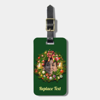 Christmas Wreath Customised With Your Photo Luggage Tag