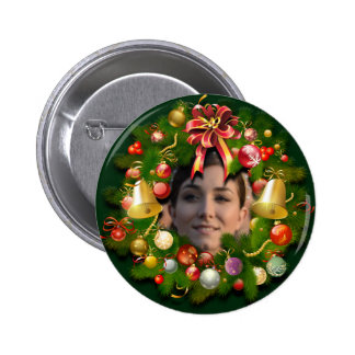 Christmas Wreath Customized With Your Photo 6 Cm Round Badge
