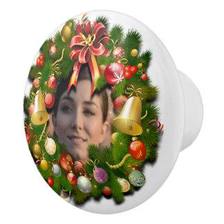Christmas Wreath Customized With Your Photo Inside Ceramic Knob