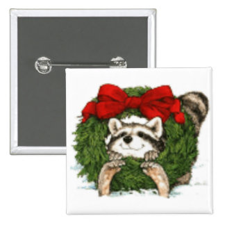Christmas Wreath Decoration And Raccoon 15 Cm Square Badge