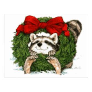 Christmas Wreath Decoration And Racoon Postcard