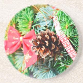 Christmas wreath decoration beverage coaster