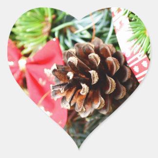 Christmas wreath decoration heart sticker