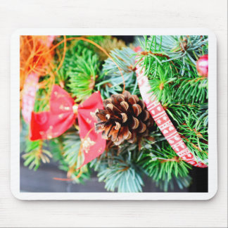 Christmas wreath decoration mouse pad