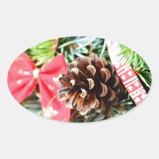 Christmas wreath decoration oval sticker