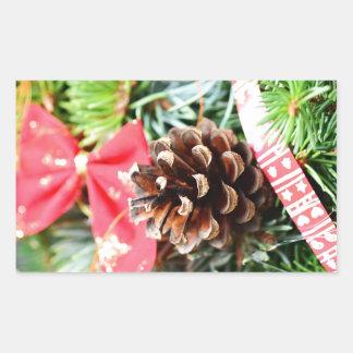 Christmas wreath decoration rectangular sticker