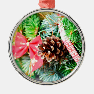 Christmas wreath decoration Silver-Colored round decoration