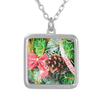 Christmas wreath decoration silver plated necklace