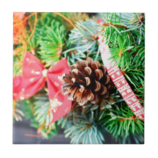 Christmas wreath decoration small square tile