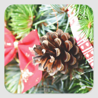 Christmas wreath decoration square sticker
