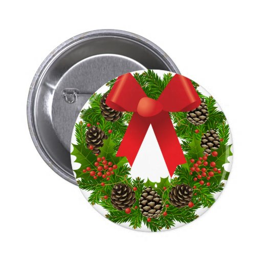 Christmas Wreath for the Holidays Buttons