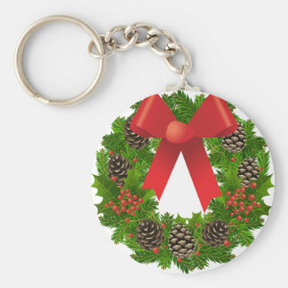 Christmas Wreath for the Holidays Basic Round Button Key Ring