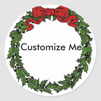 Christmas Wreath Frame for Family Portraits Classic Round Sticker