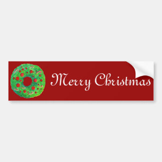 Christmas Wreath Hand Drawn and Painted Bumper Sticker