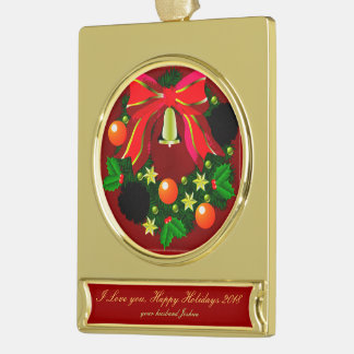 Christmas Wreath HOLIDAY BRIDAL COUPLES Gold Plated Banner Ornament