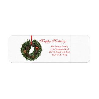 Christmas wreath Holiday Label Return Address Label
