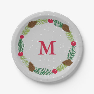 Christmas Wreath Holiday Print 7 Inch Paper Plate