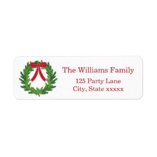 Christmas Wreath, Holiday Return Address Label