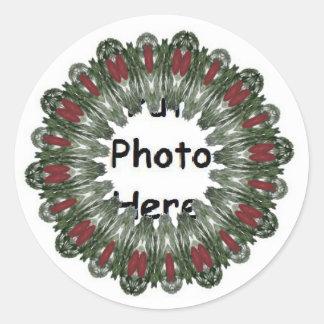 Christmas Wreath Kaleidoscope Round Sticker