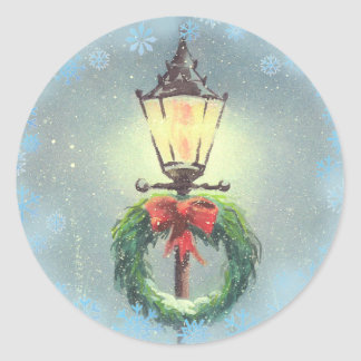 CHRISTMAS WREATH & LAMP by SHARON SHARPE Classic Round Sticker