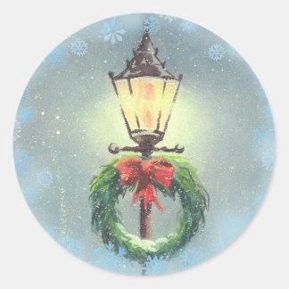 CHRISTMAS WREATH & LAMP by SHARON SHARPE Round Sticker