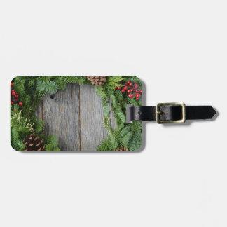 Christmas Wreath Luggage Tag