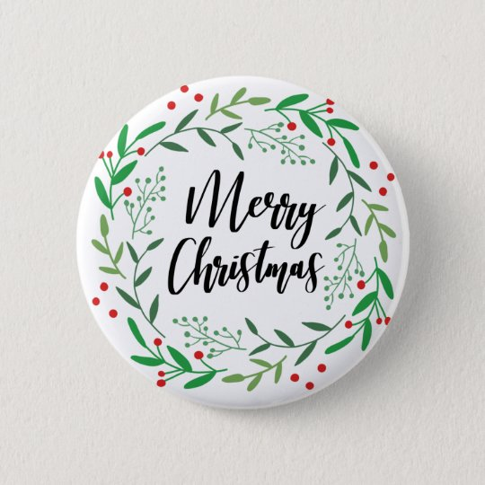 Christmas Wreath, Merry Christmas, Happy Holidays 6 Cm Round Badge
