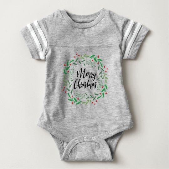 Christmas Wreath, Merry Christmas, Happy Holidays Baby Bodysuit