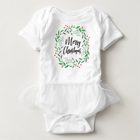 Christmas Wreath, Merry Christmas, Happy Holidays Baby Bodysuit