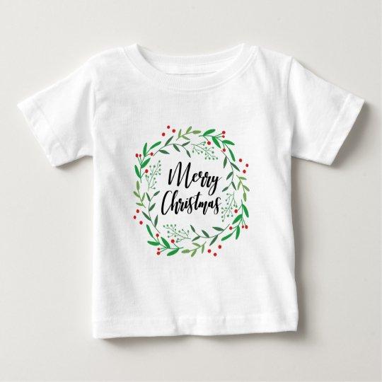 Christmas Wreath, Merry Christmas, Happy Holidays Baby T-Shirt