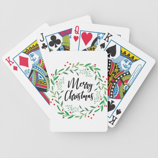 Christmas Wreath, Merry Christmas, Happy Holidays Bicycle Playing Cards
