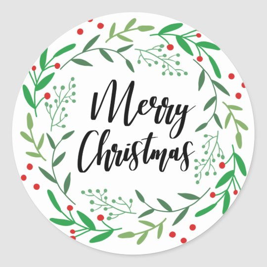 Christmas Wreath, Merry Christmas, Happy Holidays Classic Round Sticker
