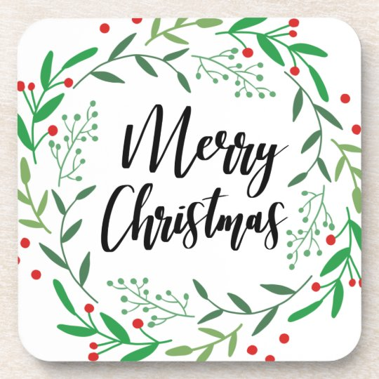 Christmas Wreath, Merry Christmas, Happy Holidays Coaster