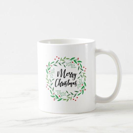 Christmas Wreath, Merry Christmas, Happy Holidays Coffee Mug