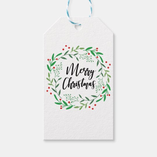 Christmas Wreath, Merry Christmas, Happy Holidays Gift Tags